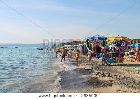 Vada Italy - June 29 2015: People resting on the coast of the Ligurian Sea (Pietrabianca Beach). Province Livorno Tuscany region of Italy