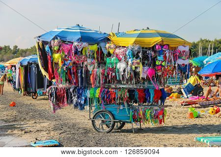 Vada Italy - June 29 2015: Shopping tray with swimming suits on the beach. Province Livorno Tuscany region of Italy