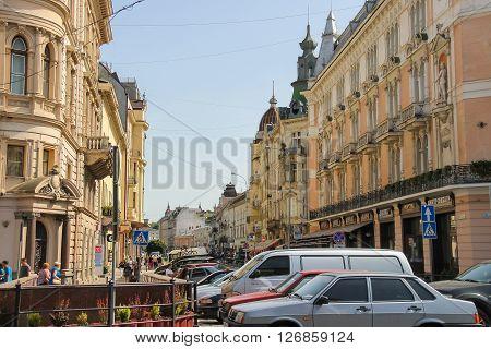 Lviv Ukraine - July 5 2014: Old Town of Lviv Ukraine. Lviv historic city center is on the UNESCO World Heritage List