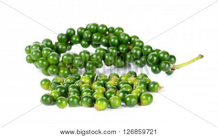 Green Peppercorns Isolated On The White