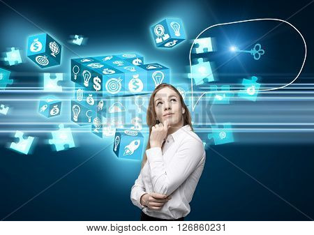 Businesswoman with speech bubble thinking about resolving digital cube puzzle