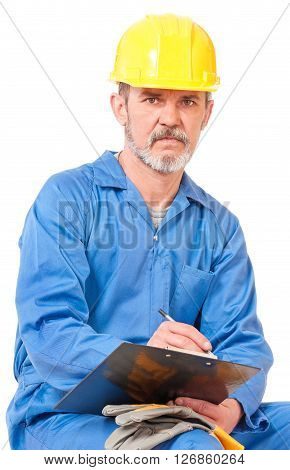 Adult worker in a uniform with plane table on white background