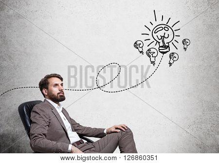 Idea Concept Sitting Businessman