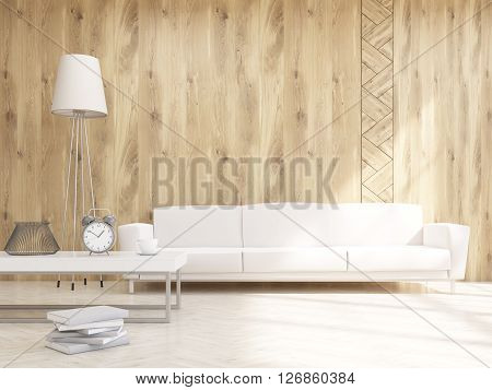Sofa At Wooden Wall