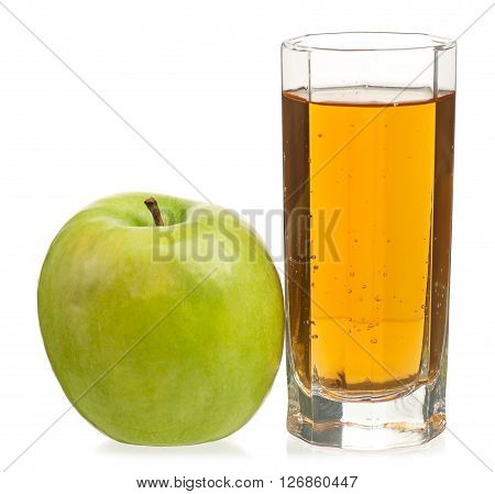 Fresh apple juice in the glass isolated on a white background