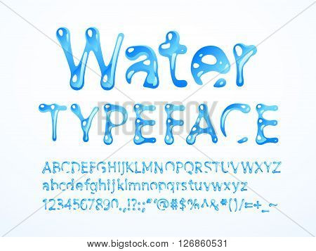 Vector water typeface. Letters A-Z, a-z, numbers and symbols. Eps8. RGB. Global colors