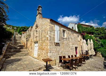 Hvar old stone church and antic steps Hvar Croatia