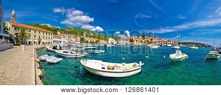 Coastal town of Hvar waterfront panorama Dalmatia Croatia