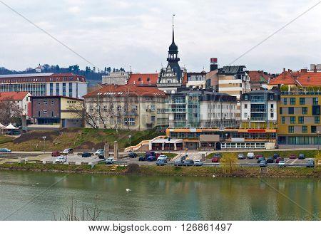 City of Maribor on Drava coast view Slovenia