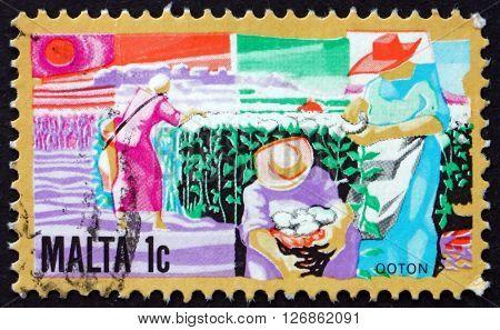 MALTA - CIRCA 1981: a stamp printed in Malta shows Growing Cotton circa 1981
