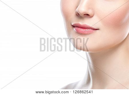 Perfect Lips.neck Chin Cheeks. Sexy Girl Mouth Close Up.