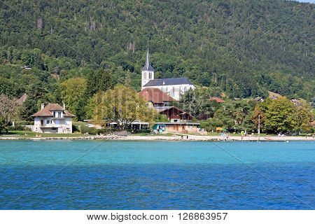 Church by the shore of Lake Annecy, France