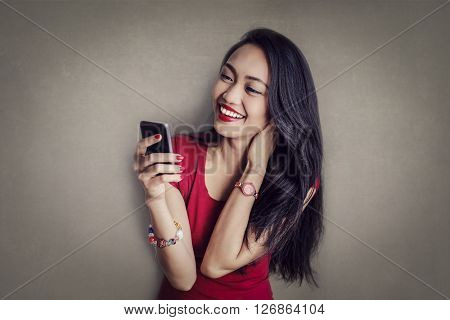 Happy woman chatting on the phone
