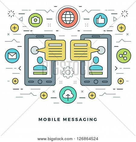 Flat line Mobile Messaging Social Network Concept Vector illustration. Modern thin linear stroke vector icons. Website Header Graphics, Banner, Infographics Design, Promotional Materials. Vector Icons