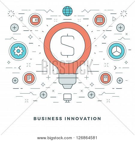 Flat line Business Innovations Concept Vector illustration. Modern thin linear stroke vector icons. Website Header Graphics, Banner, Infographics Design, Promotional Materials. Vector Icons.