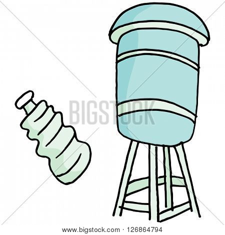 An image of a Water tower and water bottle.