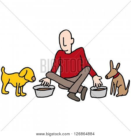 An image of a Man feeding his two dogs.