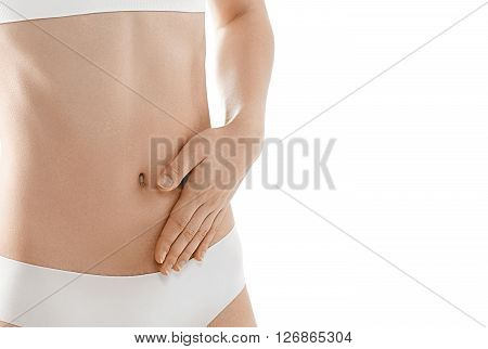 Health And Beauty Concept - Beautiful Woman In White Cotton Stomach With Hand