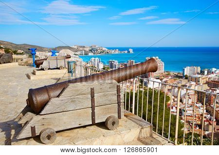 Cullera Cannon in the Castle top with aerial skyline in Valencia Spain
