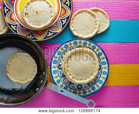 Sopes handmade mexican traditional food thick corn masa tortillas