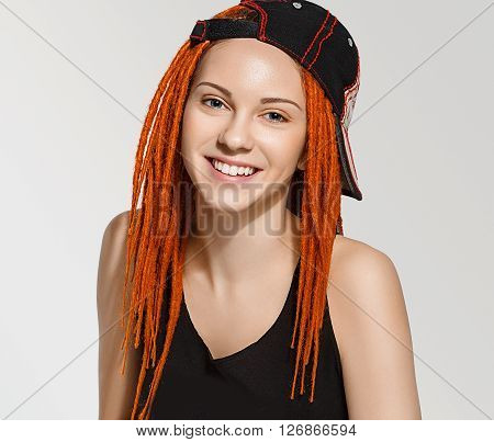 Close Up Pretty Young Woman Face With Dreadlocks Red Hair
