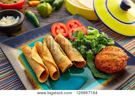 Mexican flautas rolled tacos with salsa and Mexico food ingredients