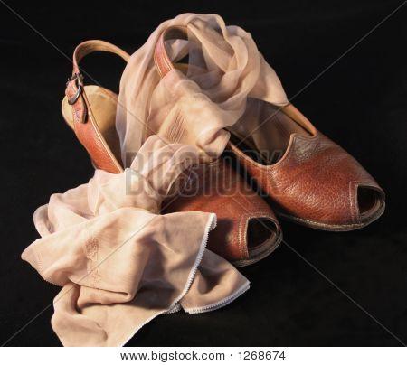 Vintage Slingback zapatos con medias