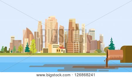 Nature Pollution City Plant Pipe Dirty Waste Water Polluted Environment Flat Vector Illustration