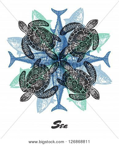 Vector Sea mood Engraved fractal outlet composition. Bright colored composition with sea turtlie and tuna fish