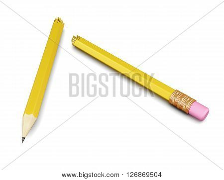 Broken pencil isolated on white background. 3d rendering.