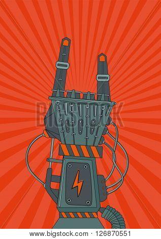 Vintage music poster with metallic robot hand. Robot rock.