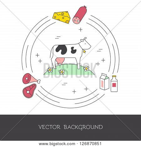 Illustration of a cow and farm products (meat milk cheese). The concept of eco-products and eco-farm. Vector illustration.