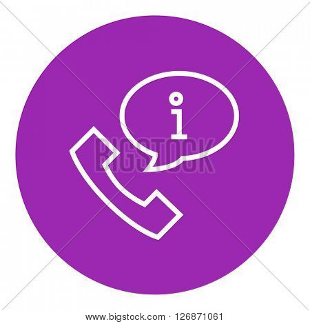 Handset with information sign line icon