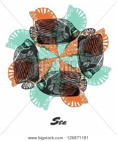 Vector Sea mood Engraved fractal outlet composition. Bright colored composition with Emperor angelfish and shell