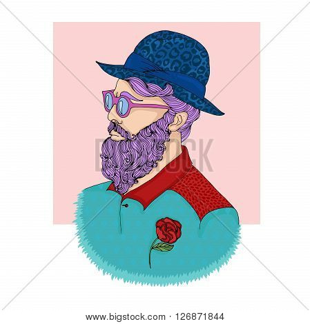 Vector hand drawn young trendy attractive man. Hipster guy in a blue hat with leopard print, purple hair beard, mustache, crimson glasses, stylish turquoise shirt with print diamond and red flower.