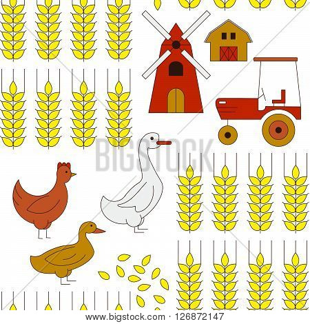 Seamless background with elements of farming. Cute funny background for wrapping paper or any surface in a farm theme.