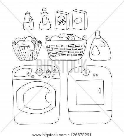 Laundry elements set, washer and dryer. detergents, basket of laundry, cartoon style vector illustration backgrounda