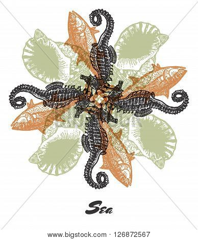 Vector Sea mood Engraved fractal outlet composition. Bright colored composition with seahorse, tuna fish and shell