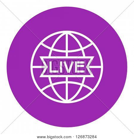 Globe with live sign line icon.
