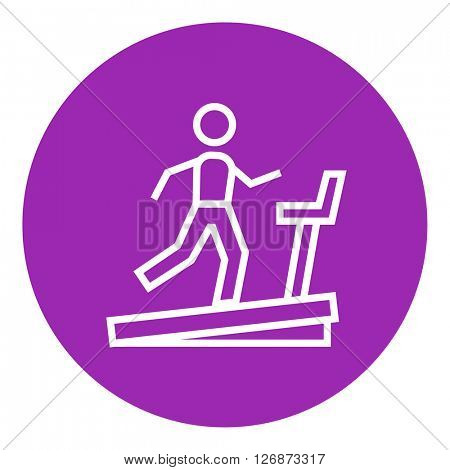 Man running on treadmill line icon.