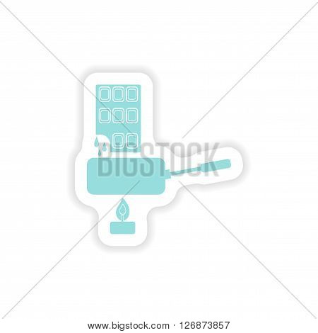 paper sticker on white background  chocolate fondue