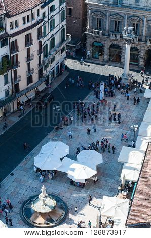11 april 2016-verona-italy-Beautiful view from the tower lamberti of Verona with the erbe on the square
