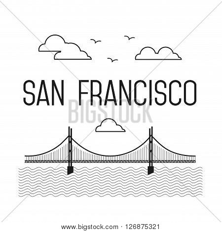 Monochrome San Francisco Golden Gate Bridge. San Francisco landmark illustration. Line flat style. San Francisco view