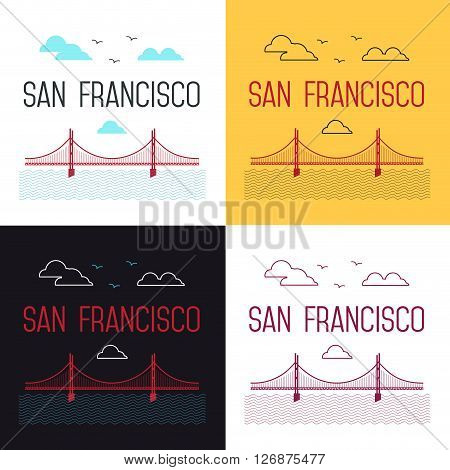 Illustrations set of San Francisco Golden Gate Bridge. San Francisco landmark illustration. Line flat style. San Francisco view. T-shirt graphic.