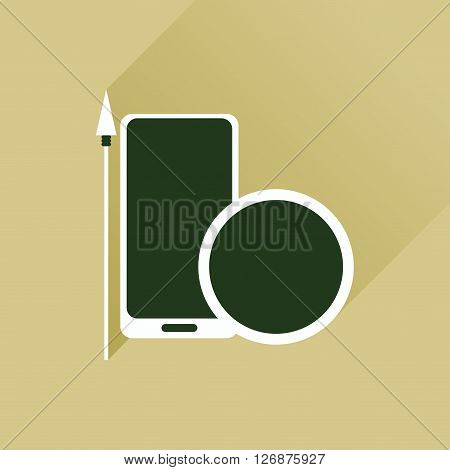 Flat web icon with long shadow mobile protection