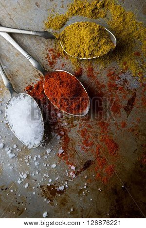 Salt, Paprika And Curry On Steel Spoons