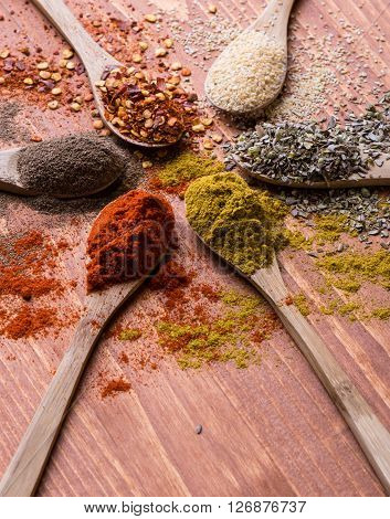Diferent Color Spices On Wooden Table