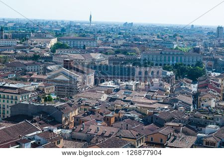 Beautiful view from the tower lamberti of Verona with the background the Arena of Verona