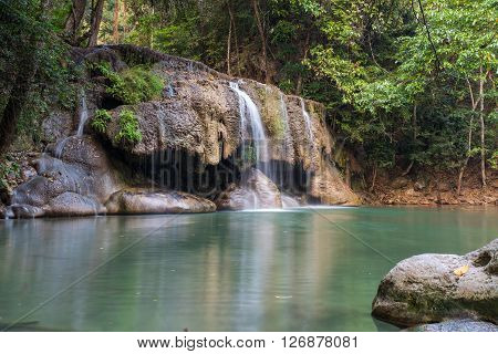 Waterfall erawan with rock Kanchanaburi of Thailand