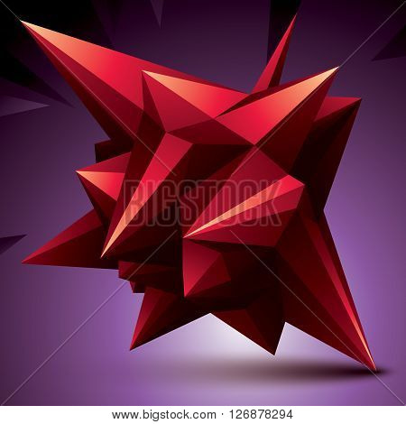3D vector abstract design object polygonal complicated figure. Red deformed shape render.